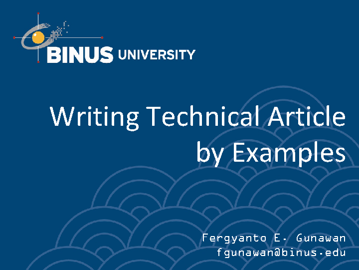 Writing Technical Article by Examples