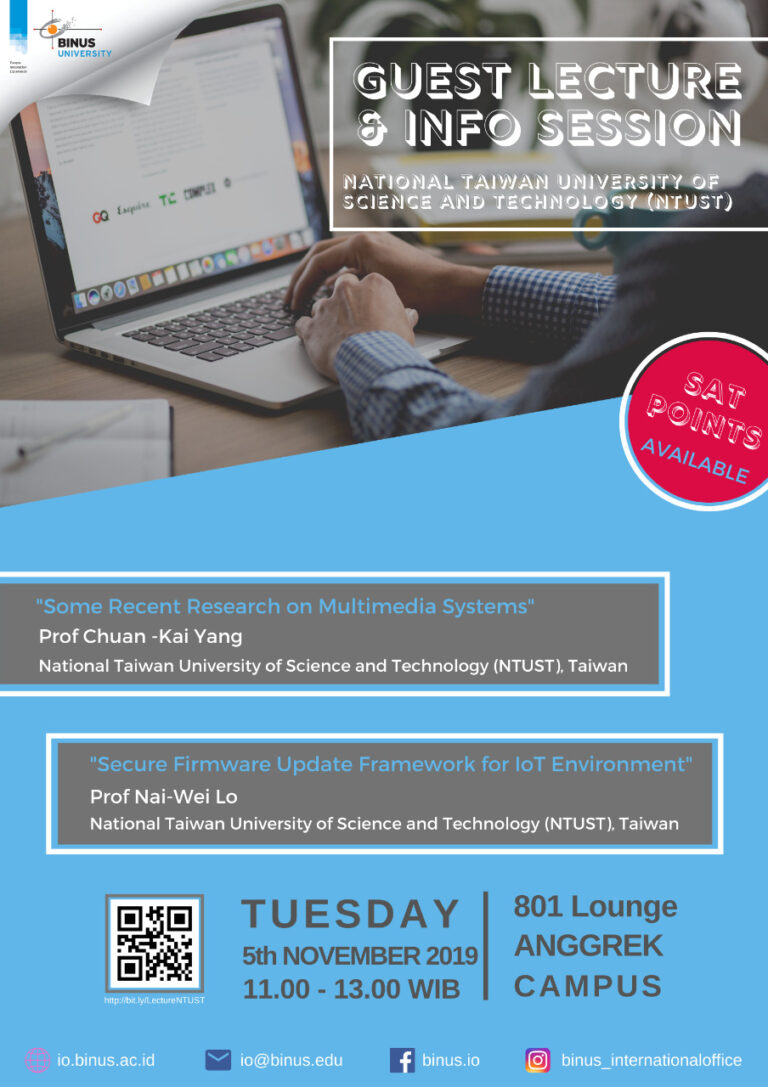 Call for Participant on International Guest Lecture from NTUST (Taiwan Tech) and Interview Opputunities